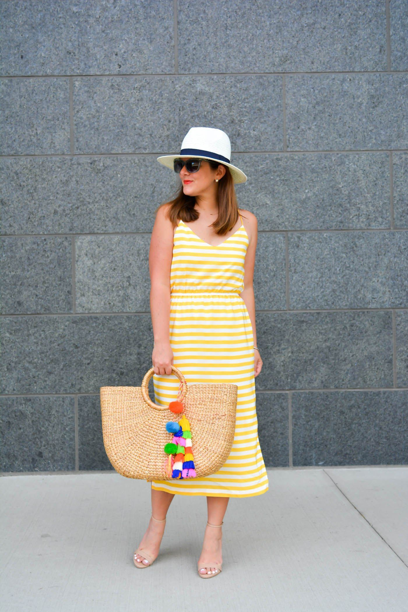02aeb662c6f5 Summer Style, Chicago Blogger, Tassel Pom-Pom Beach Basket, J.Crew Carrie  Dress in Stripe, Stripe Midi Dress
