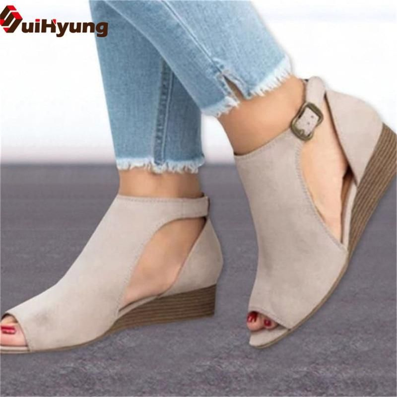 Womens Sandals Summer Fashion Slip-On Fish Mouth Open Toe Thick Heel mid Heel Womens Shoe
