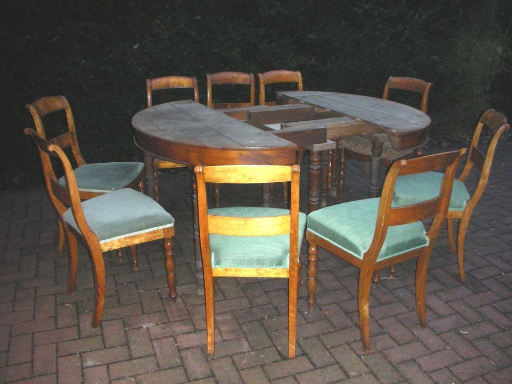 Original Biedermeier Esstisch + 9 Stühle Esszimmer oval 4,5 m - esstisch und stuhle esszimmer