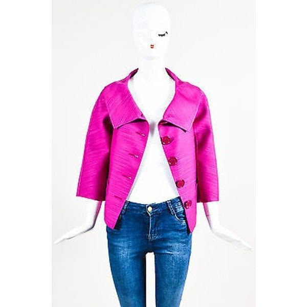 Pre-Owned Christian Dior Magenta Pink Wool & Silk Blend Buttoned Lady... ($160) ❤ liked on Polyvore featuring outerwear, jackets, pink, wool jacket, christian dior, pink jacket, pink wool jacket and oversized jacket