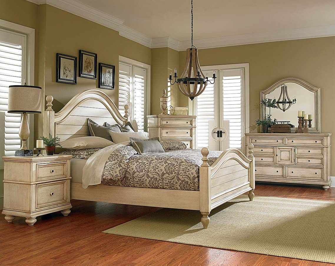 White, Antique French Bisque Finish Suite Chateau