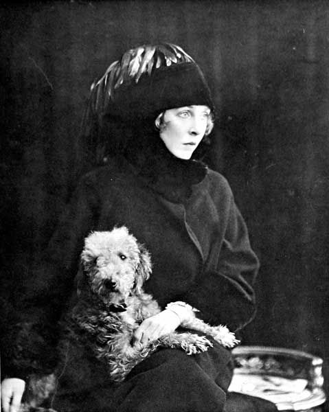 "Lady Diana Cooper (1892 - 1986) with her Bedlington ""Major"""