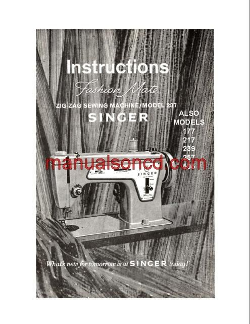 Singer 237 Sewing Machine Instruction Manual