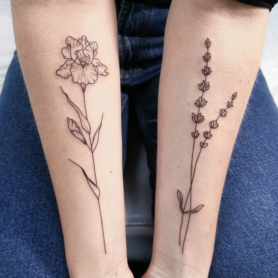 Minimalistic Lavender And Iris Forearm Tattoo By Irene Bogachuk Feminine Tattooing Irenebogachuk Forearm Tattoo Women Iris Tattoo Small Forearm Tattoos