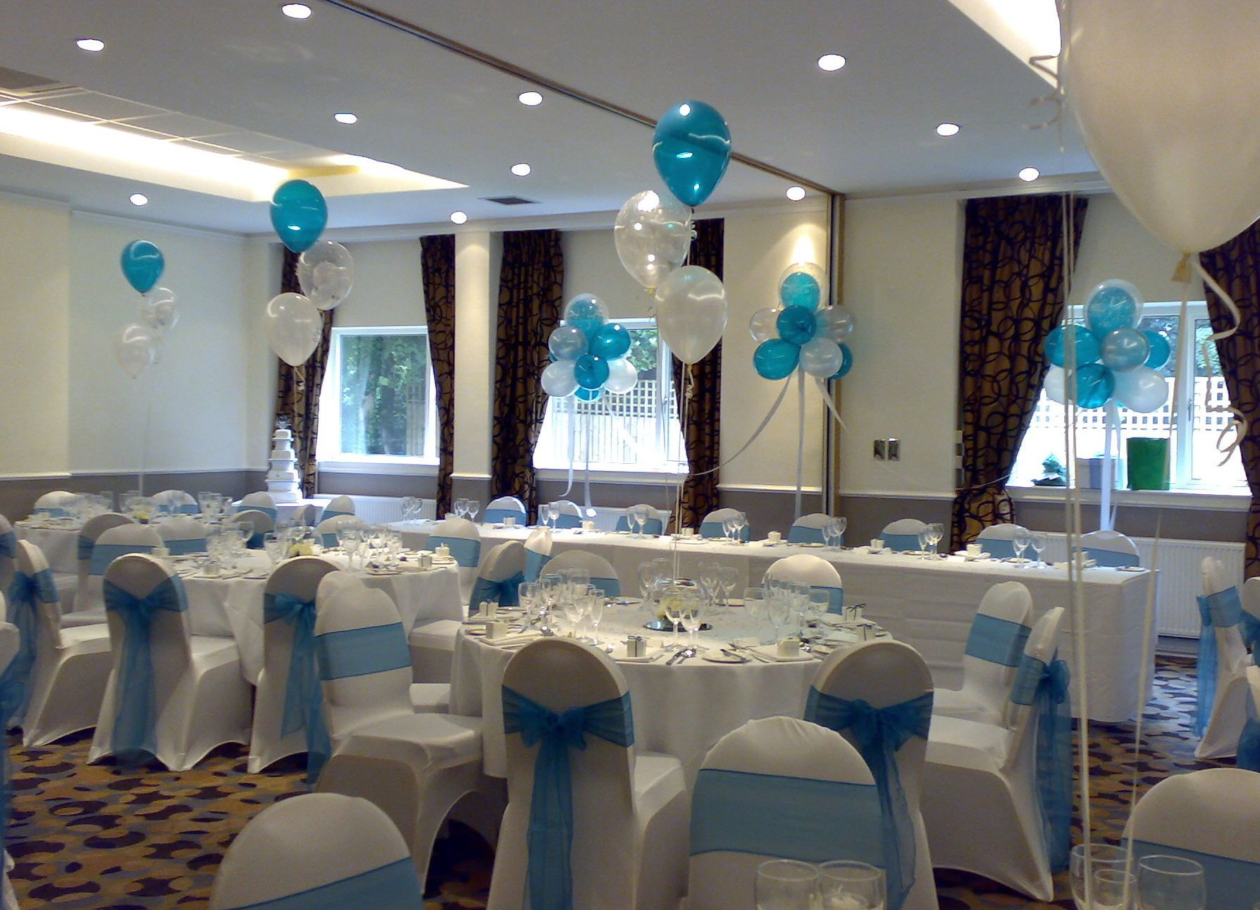 teal, silver and white decorations at the chimney house hotel - a