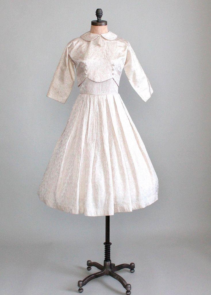 Vintage 1950s Brocade Wedding Dress and Over Jacket