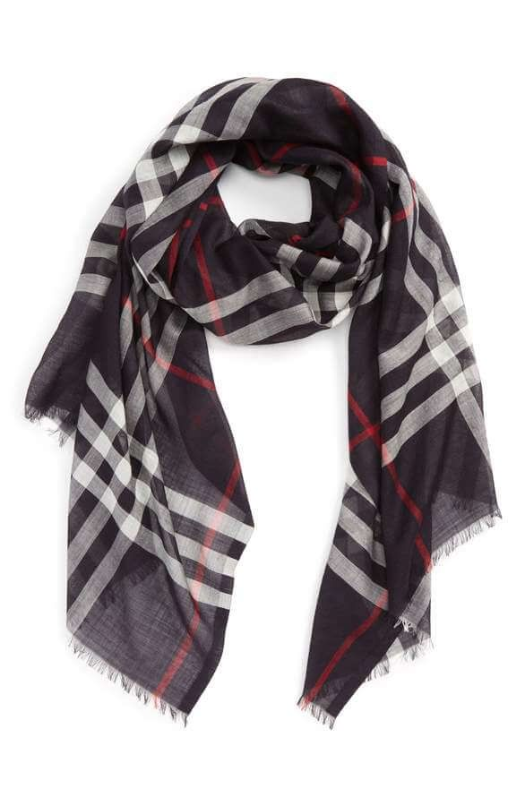 44e7d3028b98e Burberry Giant Check Print Wool & Silk Scarf Navy in 2019 | Stormy + ...