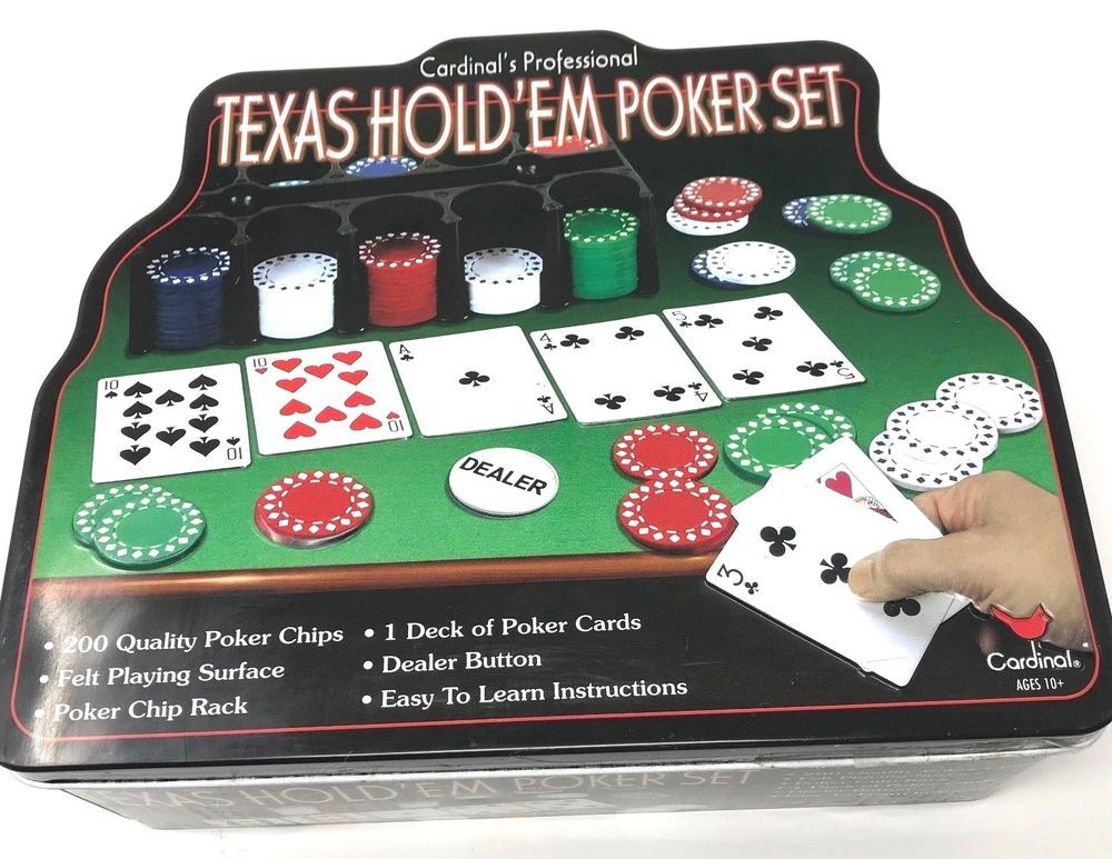 Cardinal Professional Texas Hold'em Poker Set in Tin Some