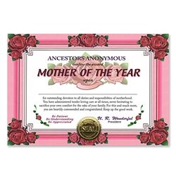 Mother Of The Year Certificate Greeting Birthday Certificate Mother S Day Theme Party Supplies