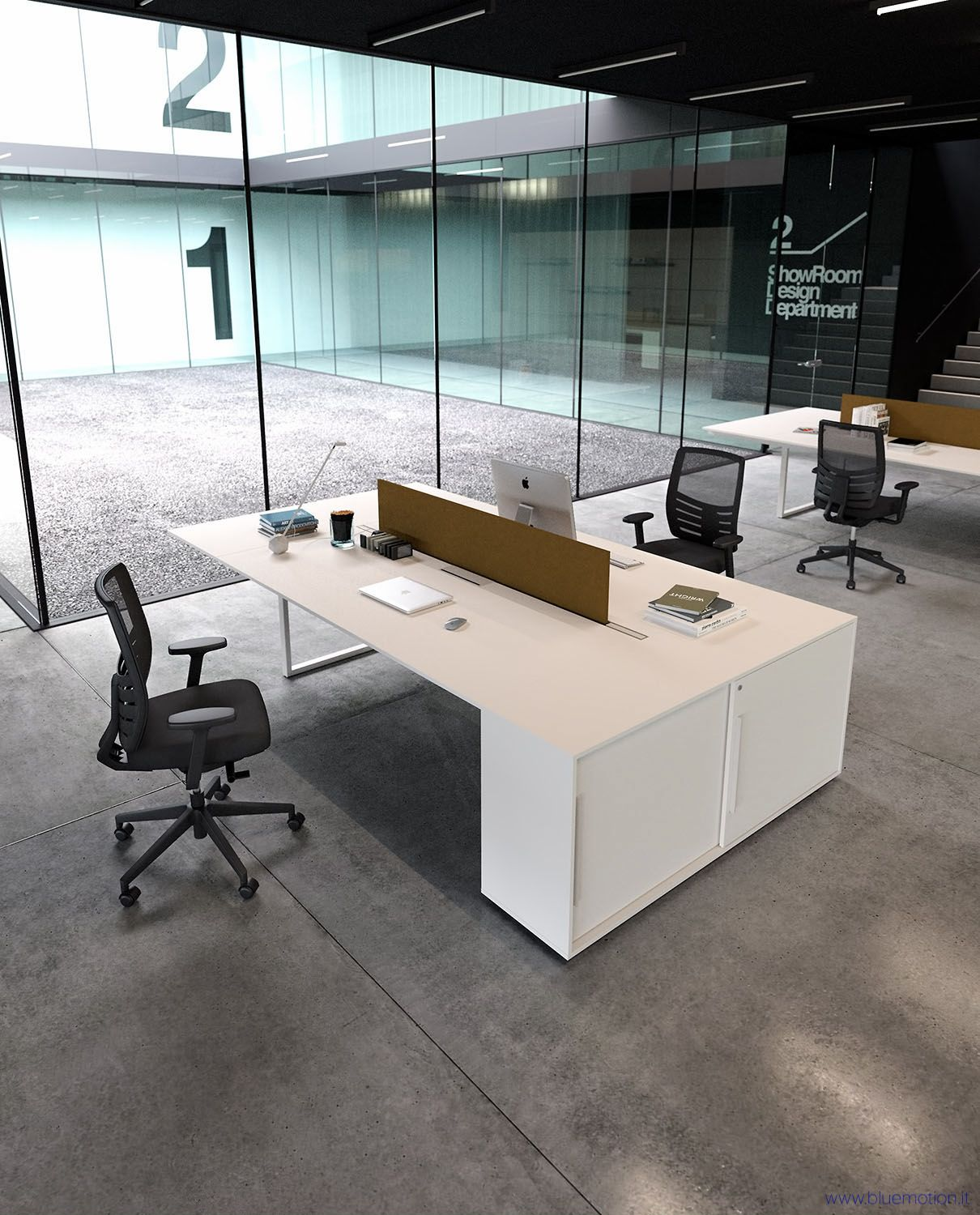 Harkavy furniture focuses on modern pieces made of wood and steel - Modern Office Furniture Render