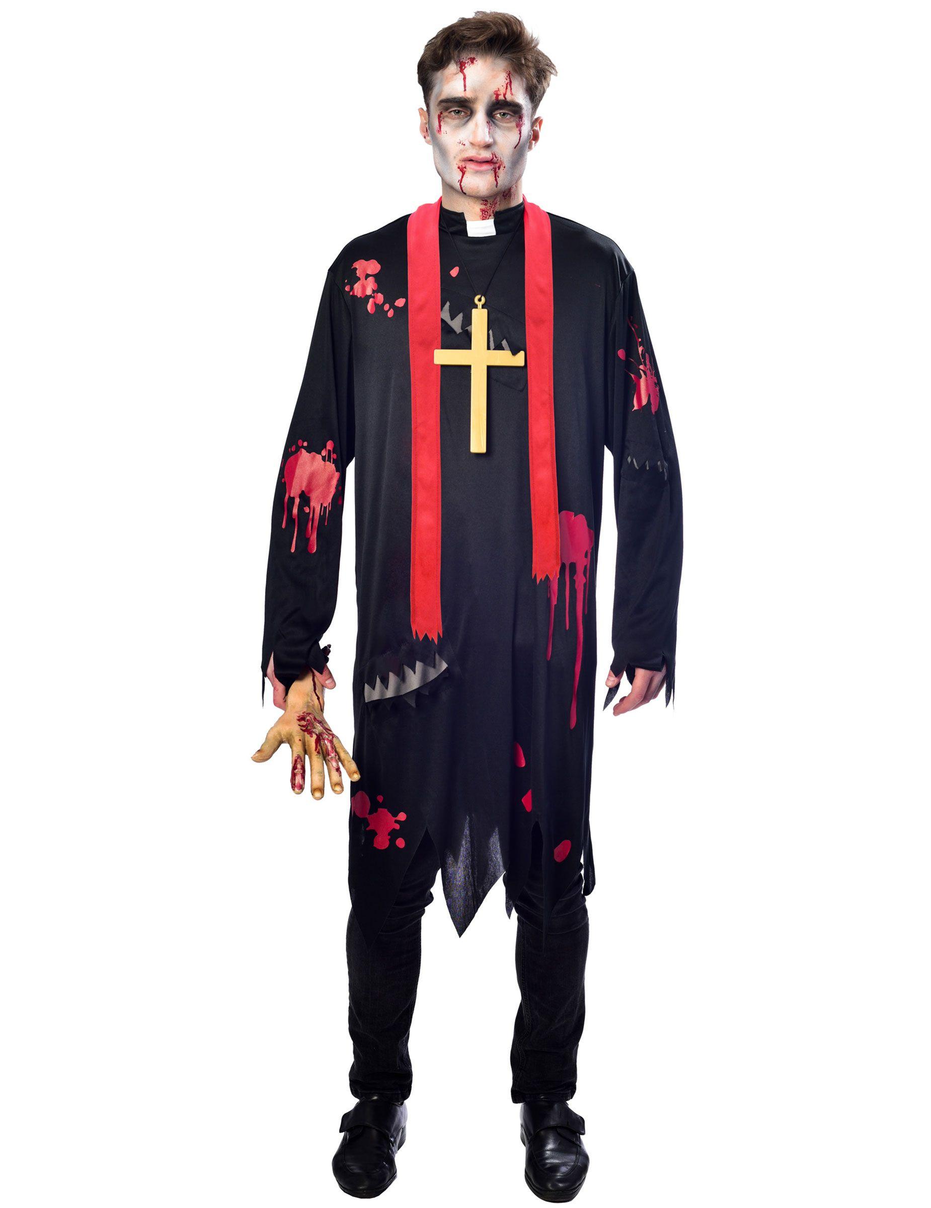 Travestimenti Halloween Uomo.Costume Da Prete Zombie Per Uomo Halloween Vestiti Costumi E Zombie