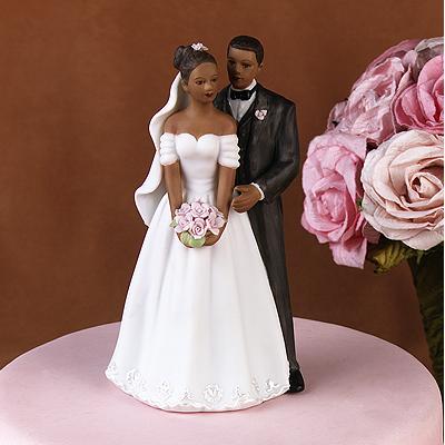 Elegant African American Wedding Cake Topper