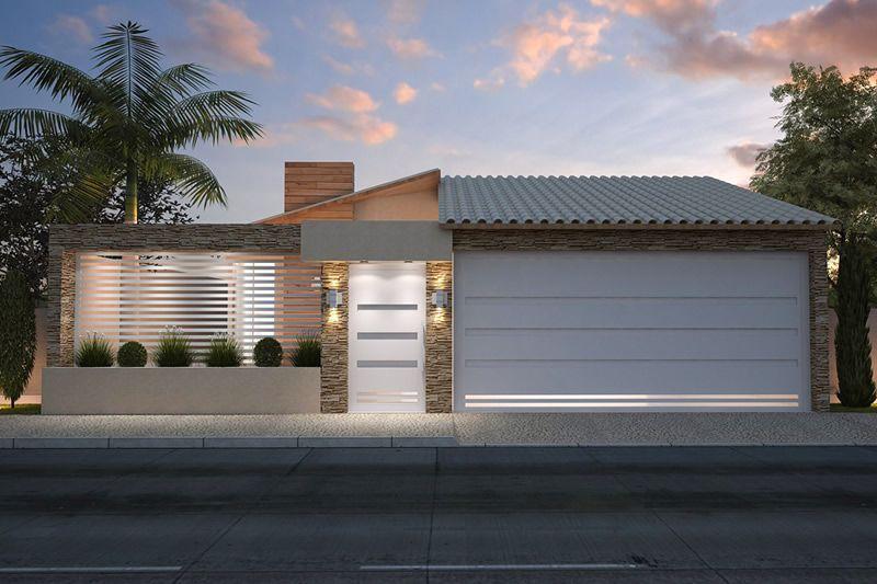 Modelos de fachadas de casas bonitas simples populares for Fachadas de casas modernas de 2 quartos