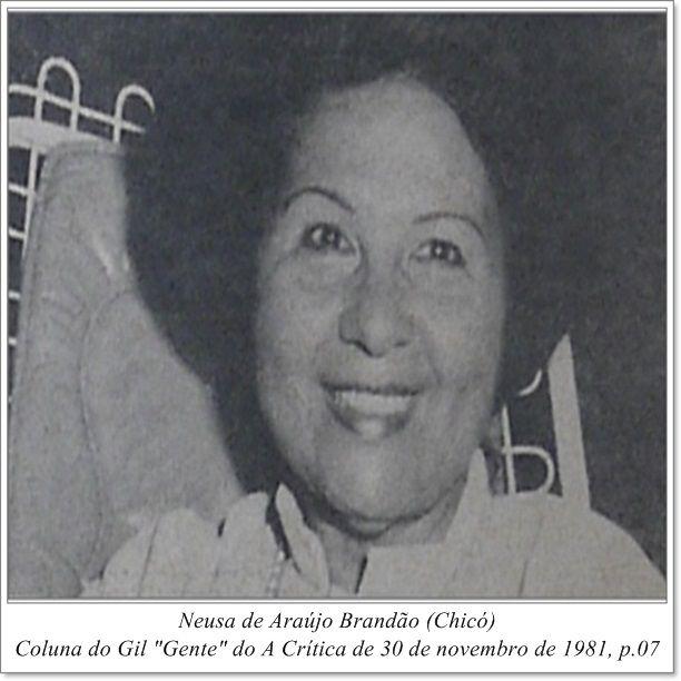 """Neusa de Araújo Brandão. Coluna do Gil """"Gente"""" do A Crítica de 30 de novembro de 1981."""