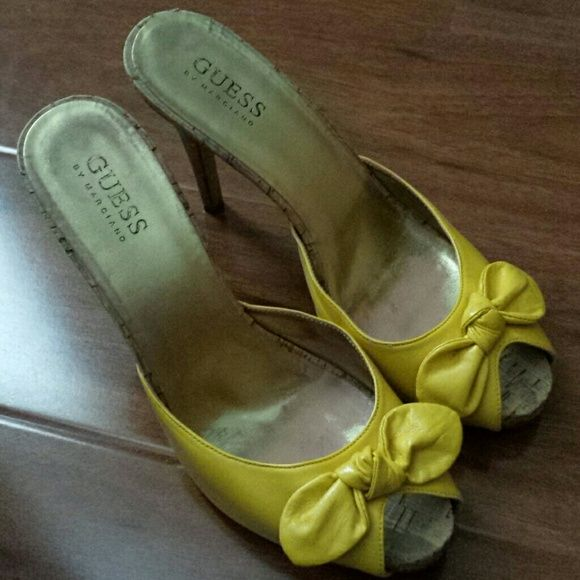 Perfect For The Upcoming Spring: GUESS Yellow Sandals Super Cute Sandals, Perfect For These