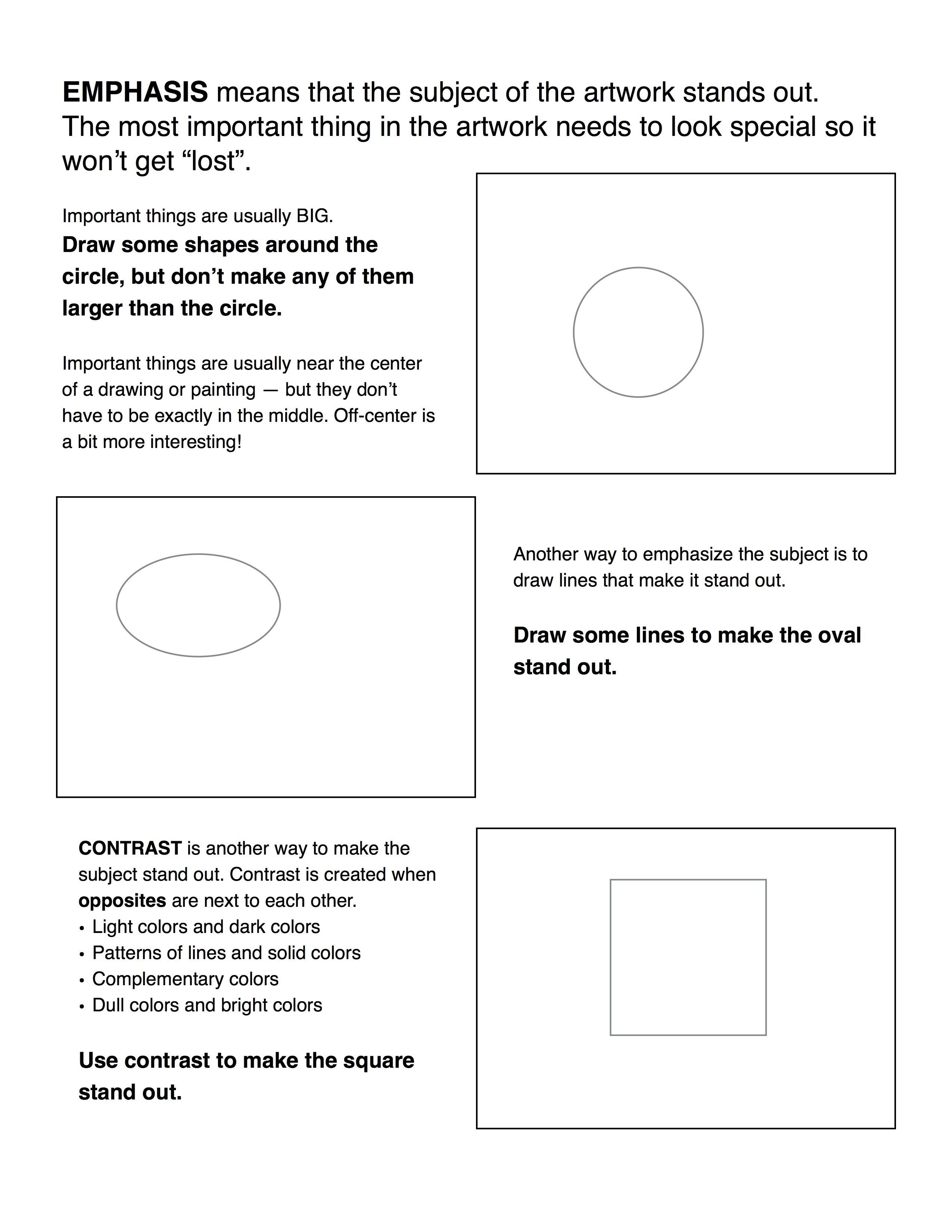 worksheet Art Worksheet emphasis contrast worksheet print this art teacher pinterest worksheet
