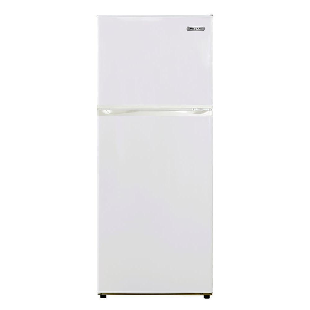 Vissani 24 In W 10 Cu Ft Top Freezer Refrigerator In White Hmdr1030we The Home Depot Top Freezer Refrigerator Glass Refrigerator Refrigerator