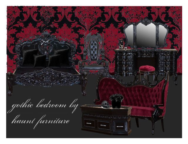 """gothic bedroom by haunt furniture"" by dysdaimona on Polyvore featuring interior, interiors, interior design, Zuhause, home decor, interior decorating, Alliyah, Squarefeathers, Hervé Gambs und L'Objet"