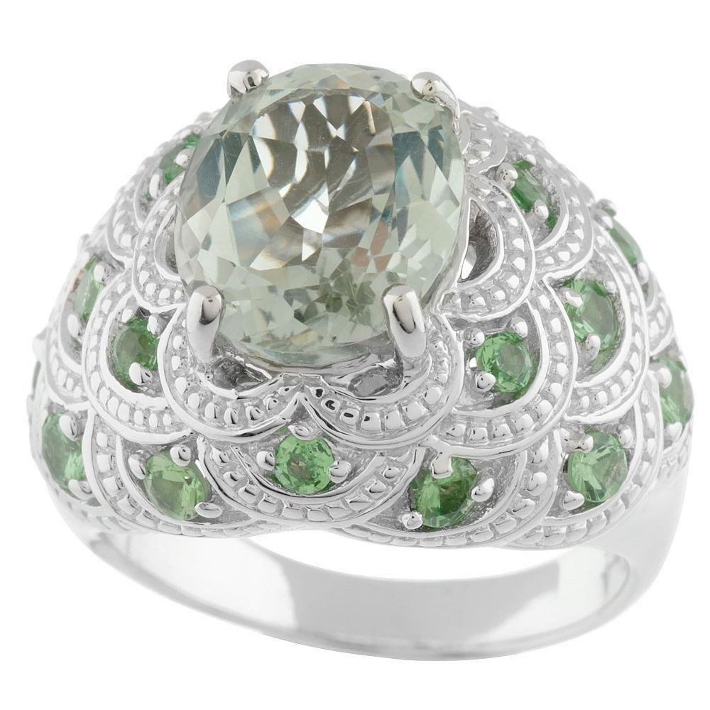 QVC 10K White Gold Over 4.50 ct tw Green Quartz & Tsavorite Ring #AffinityJewelry #Solitaire