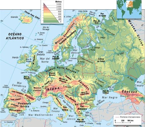 Mapa Fisico Mudo Rios De Europa Para Imprimir.Geografia De Europa Y Espana Map Geography Europe