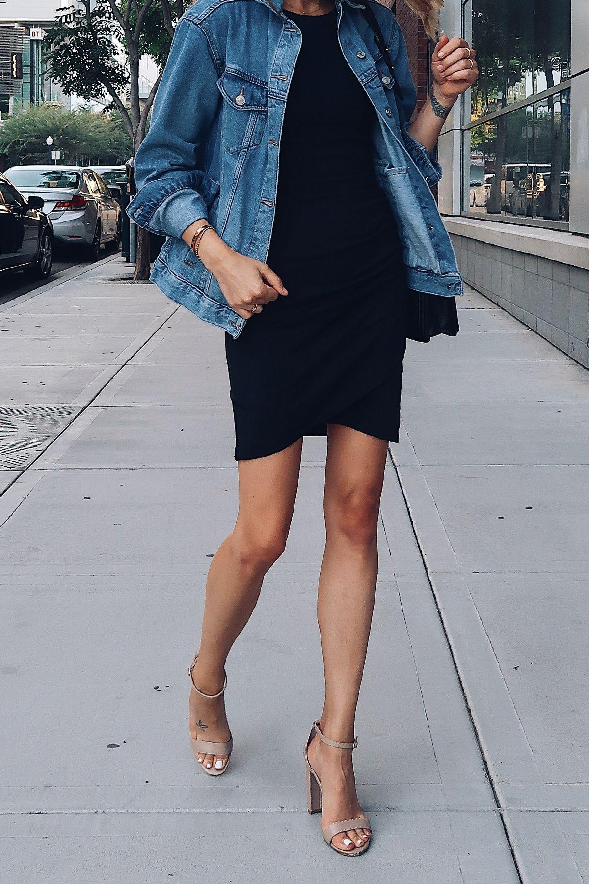 799a2330d99 Woman Wearing Topshop Oversized Denim Jacket Black Wrap Dress Steve ...