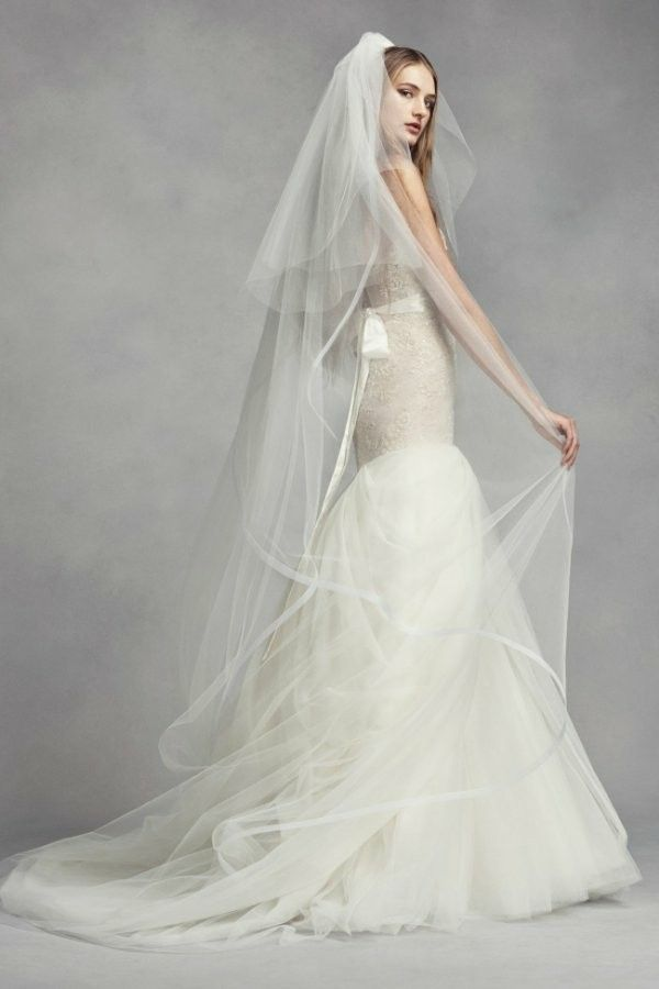 Two Tier Chapel Length Veil With Horsehair Edge  White by Vera Wang for  David s Bridal 600adb705972