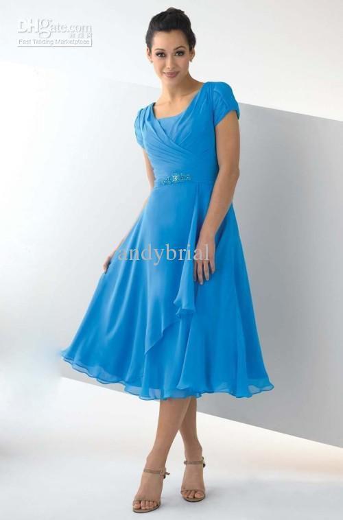 Tea Length Short Sleeve Dress
