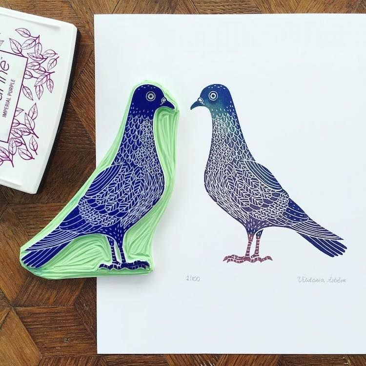 Artist Carves Rubber Stamps to Illustrate the Infinite Beauty of the Natural World -  Custom Art Rubber Stamps by Viktoria Åström  - #artist #beauty #carves #illustrate #infinite #natural #Printmaking #rubber #Sculpture #stamps #WeddingPhotography #world