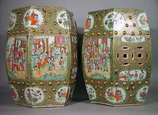 A Fine Pair of Chinese Export Garden Seats, Circa 1840-60