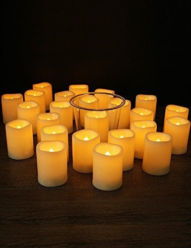 "Flameless Votive Candles Home Most Set Of 24 Led Votive Candles With Remote 15"" D X 2"" H 4"
