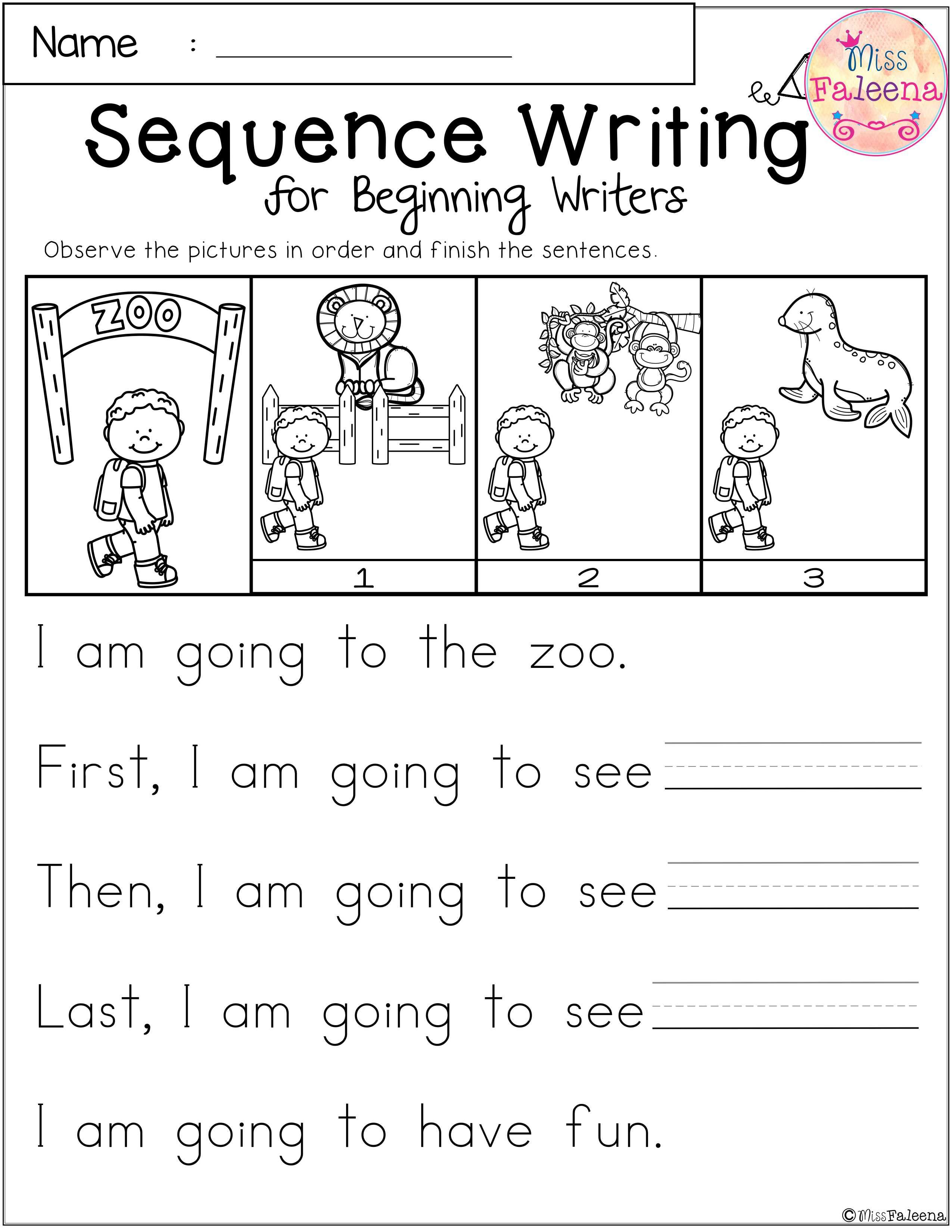 Free Sequence Writing For Beginning Writers Sequence Writing Kindergarten Sequencing Worksheets Sequencing Worksheets