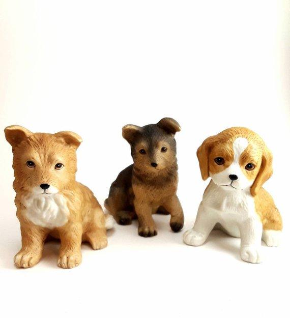 70 S Vintage Painted Bisque Porcelain German Shepherd Beagle And