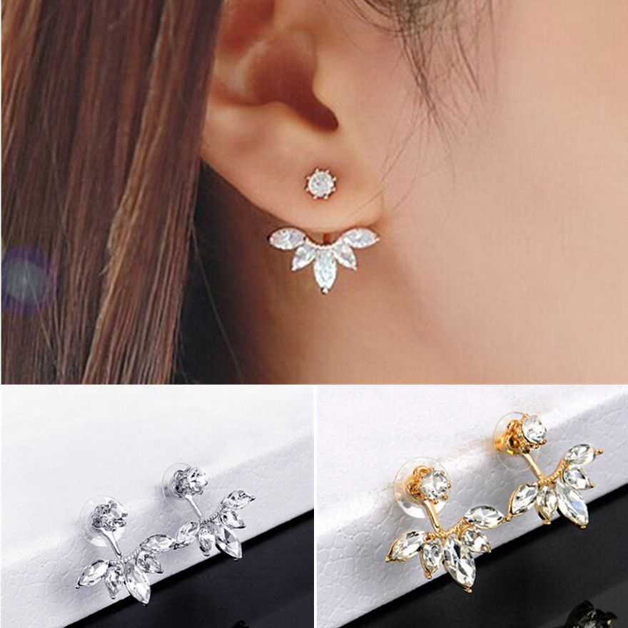 New 1 Pair New Fashion Women Lady Elegant Crystal Rhinestone Ear Stud  Earrings Charm-in