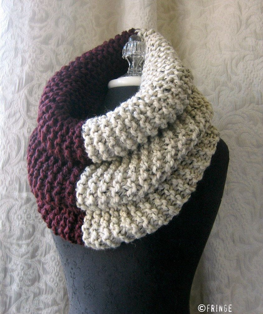 El Grande Cowl - Chunky Knit Cowl - Burgundy and Oatmeal | Knit cowl ...