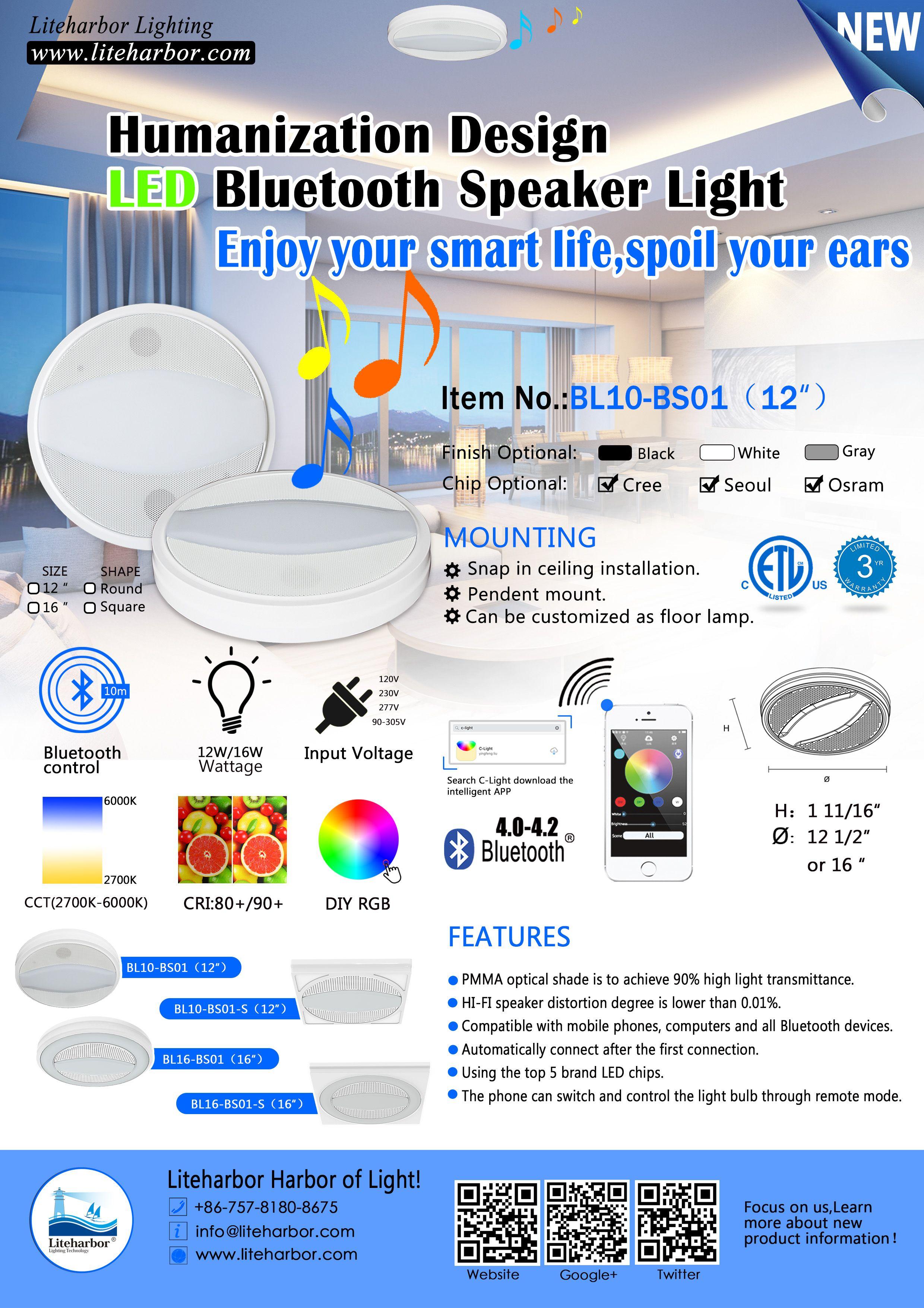 Liteharbor factory ceiling led bluetooth speaker light