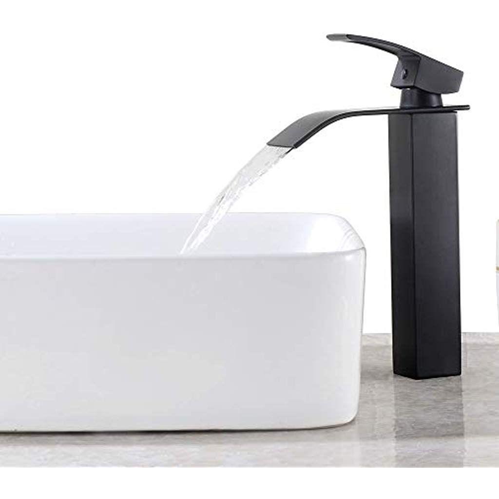 Kaibor Schwarz Hoch Waschtischarmatur Wasserfall Wasserhahn Bad