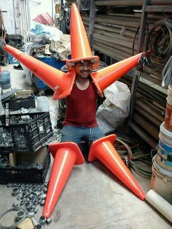 Meet our newest hero.... Cone Man! Ready to poke evil in its eye! (Patrick Starr is very upset that he did not think of this before)