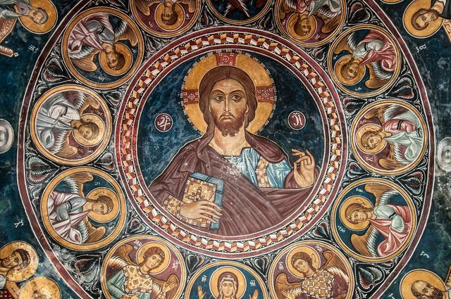 A Fresco in the Greek Orthodox Church of St. Nicholas of the Roof in the Troodos Region of Cyprus