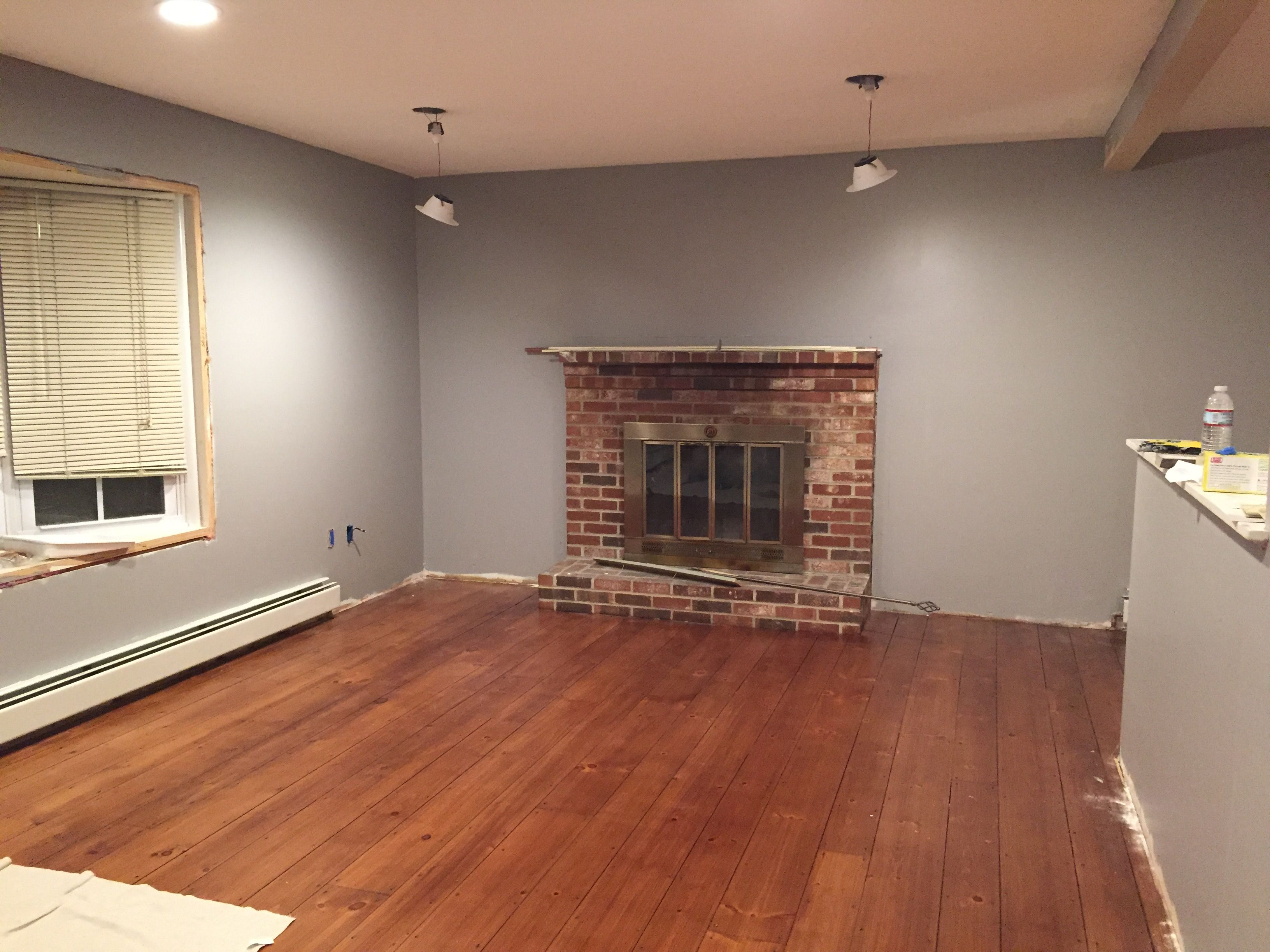My living room- Behr Ultra Flannel Gray in eggshell. We ...