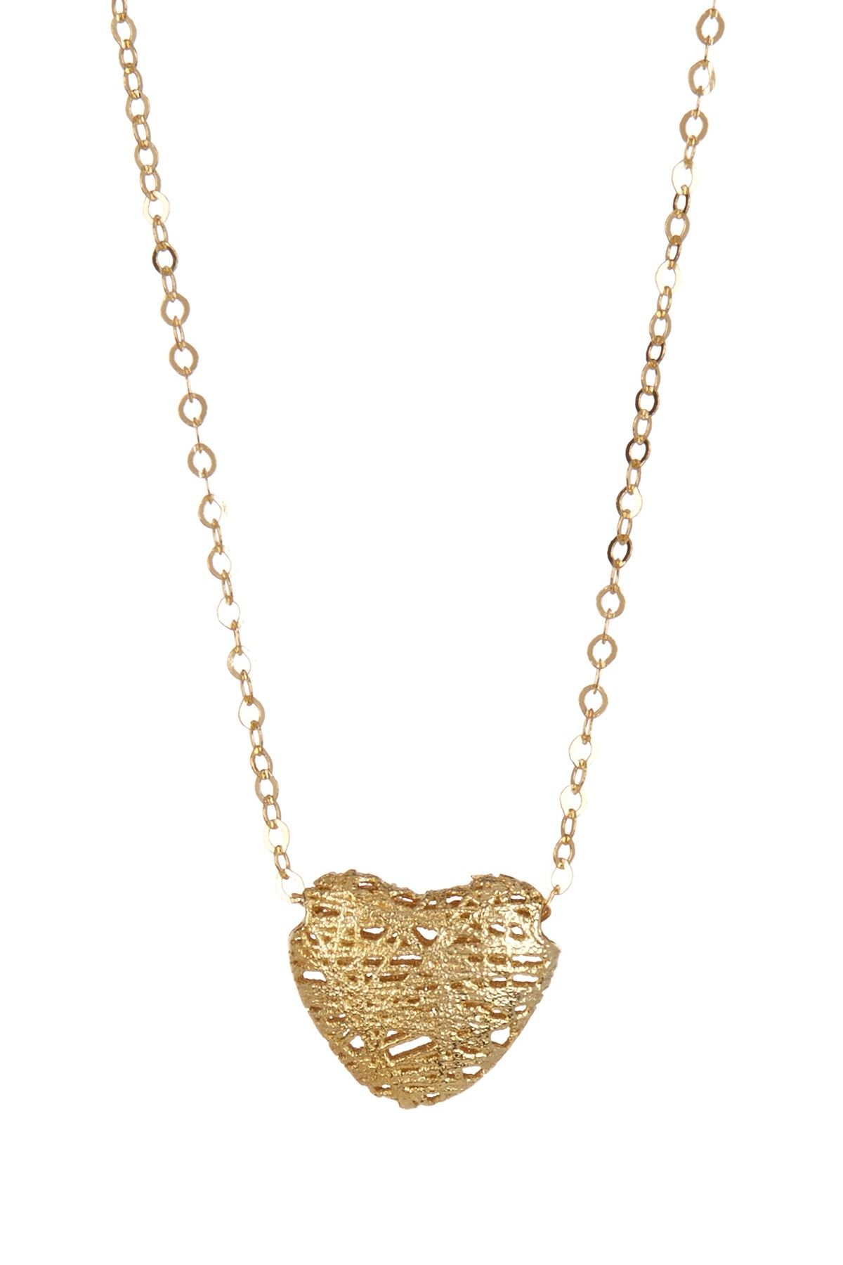 14k yellow gold puff heart pendant necklace on hautelook fine 14k yellow gold puff heart pendant necklace on hautelook aloadofball Images