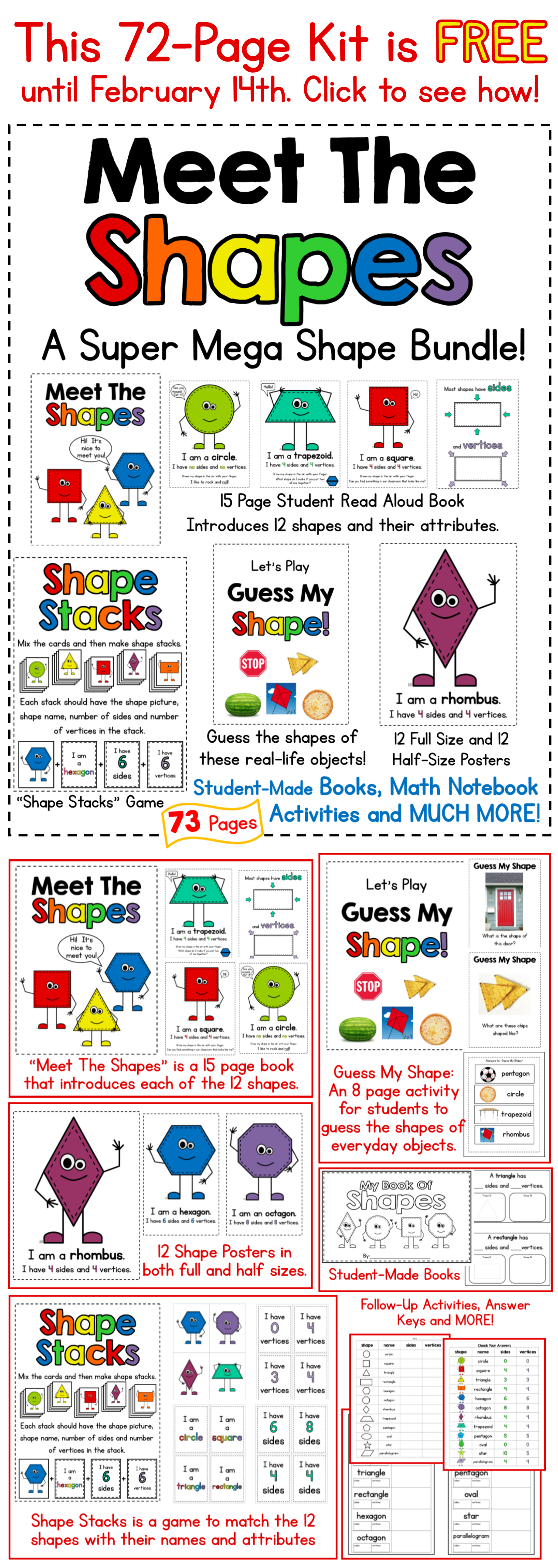 "Get this 72Page ""Meet The Shapes"" Kit free in February"
