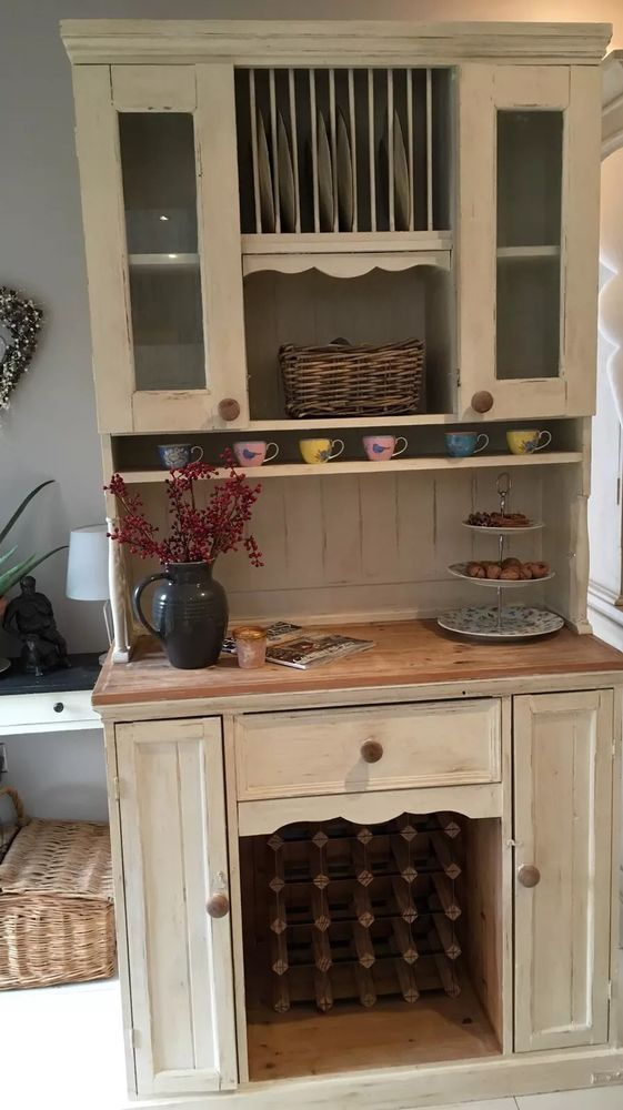 Pine Farmhouse Kitchen Dresser With Plate Rack Open Hutch Wine Rack Shabby  Chic