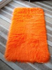 Bright Orange Faux Sheepskin Fur Fluffy Rug 51 X 27 70 130cms
