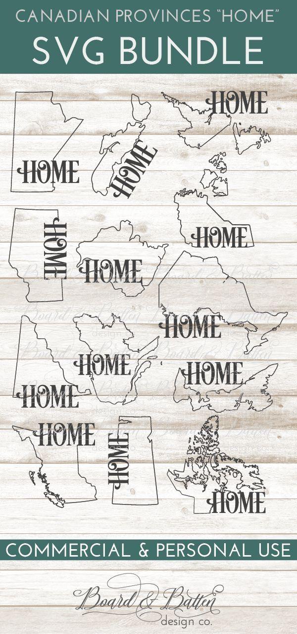 """Canadian Province Outline """"Home"""" SVG File Set All"""