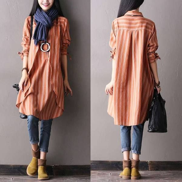 c02919616ee Women autumn long sleeve cotton irregular shirt dress - Buykud ...