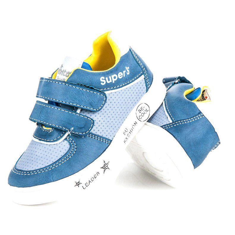 Buty Sportowe Dzieciece Dla Dzieci Americanclub Niebieskie Trampeczki Na Rzepy American Club Baby Shoes Sneakers Shoes