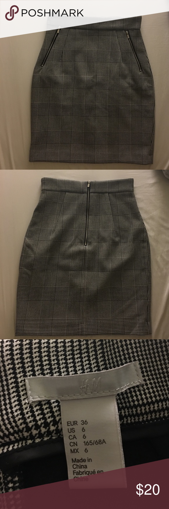 "H&M Plaid High Waisted Pencil Skirt Approximately 19.75"" length. US size 6. Silver zippers. Still in great condition. H&M Skirts Pencil"