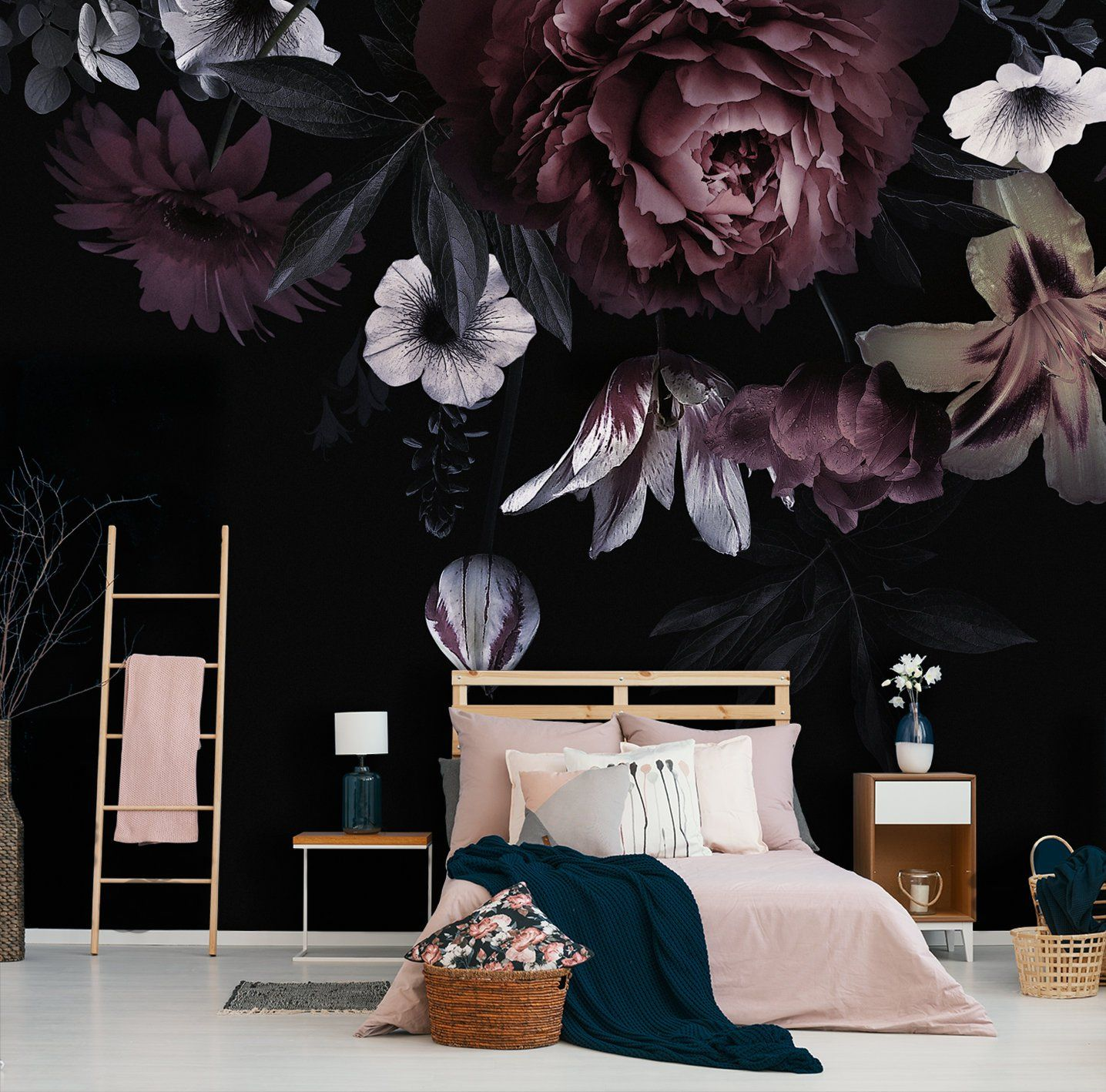 Big purple peony removable wallpaper, self adhesive