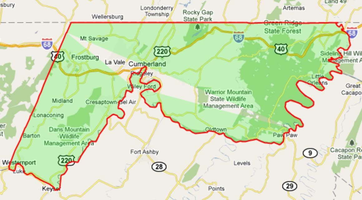 Allegany County Tax Maps Alleghany County Map | MD    Allegany County | County map, County