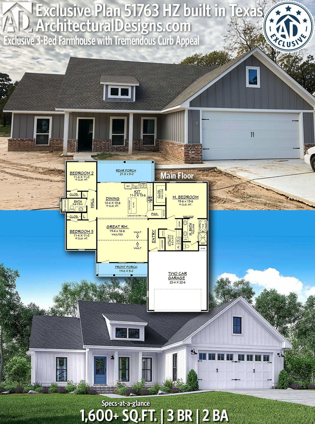 Architectural Designs 51763HZ comes to life in Texas! This home gives you 3 bedrooms, 2 baths and 1,600  sq. ft. Ready when you are! Where do YOU want to build?